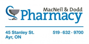 We would like to recognize MacNeil & Dodd Pharmacy. Owned by Patrick MacNeil, MacNeil & Dodd Pharmacy has been serving Ayr and the surrounding community since it opened in 1995. We are excited to be representing this local business next season. Thank you for your support and welcome to the team!
